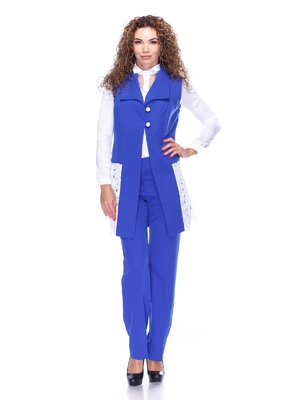 Костюм: жилет и брюки цвета электрик | 3544491