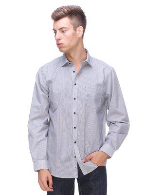 Рубашка серая в полоску | 3565511