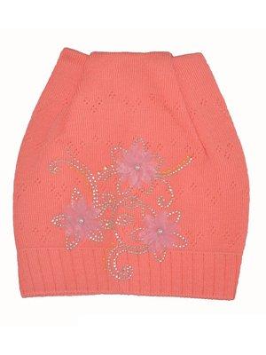 Шапка оранжевая со стразами и цветочной аппликацией   3594680