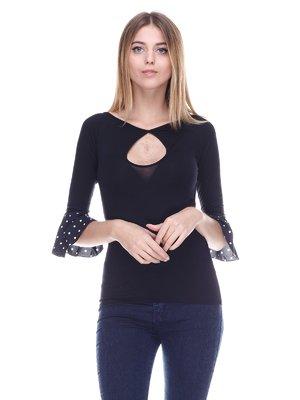 Блуза черная с манжетами в горох | 3478038