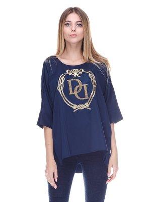 Блуза синяя с золотистым принтом | 3114386