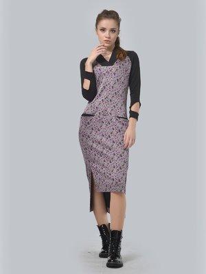 Платье двухцветное в принт | 3633857