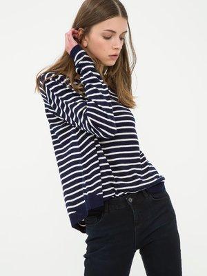 Пуловер темно-синій в смужку | 3637040