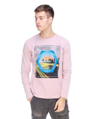 Лонгслив розовый с принтом | 3623716
