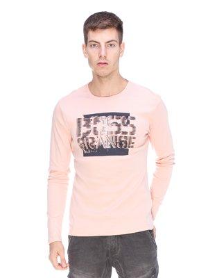 Лонгслив розовый с принтом | 3623705