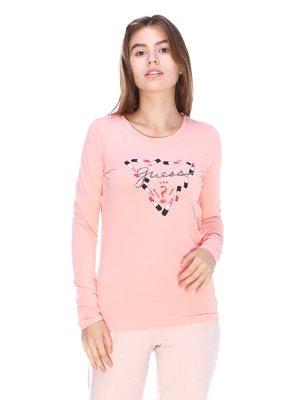 Лонгслив розовый с принтом | 3623703