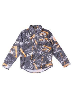 Рубашка серая с принтом | 3645111