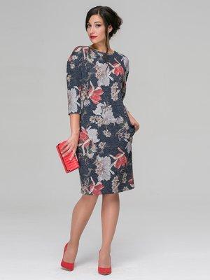 Платье серое в цветочный принт | 3649373