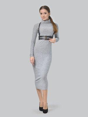 Сукня світло-сіра з портупеєю | 3650807