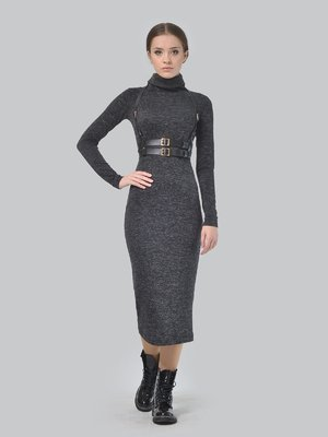 Платье графитового цвета с портупеей | 3650810