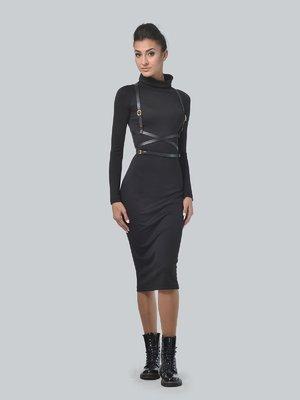 Сукня чорна з портупеєю | 3650814