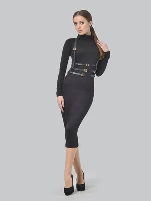 Сукня чорна з портупеєю | 3650815