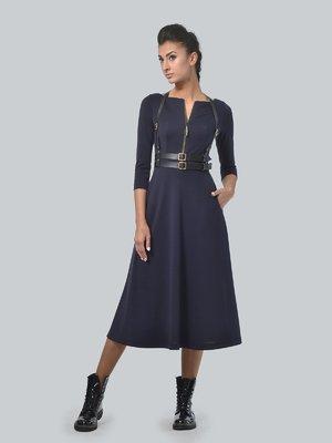 Платье темно-синее с портупеей | 3650820