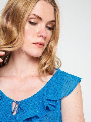 Блуза синяя в принт | 3646613