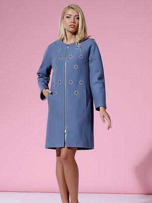 Пальто серо-голубое с цветочным принтом | 3167899