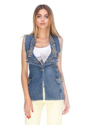 Жилет синий джинсовый с декором   2638753