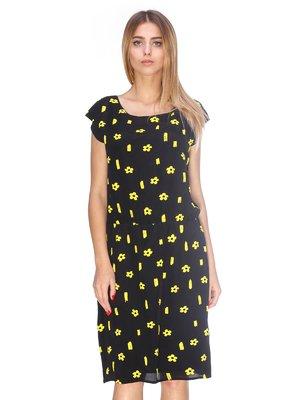 Платье черное в цветочный принт | 2317158