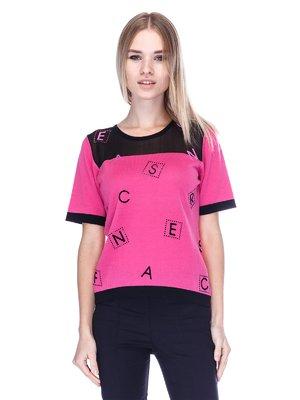 Футболка чорно-рожева | 3643792