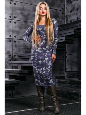 Платье синее с принтом | 3664314