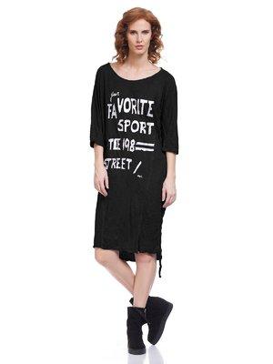 Платье черное с принтом | 3652372