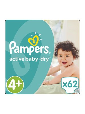 Подгузники Active Baby-Dry - размер 4+ (Maxi+) 9-16 кг (62 шт.) - Pampers - 3670157