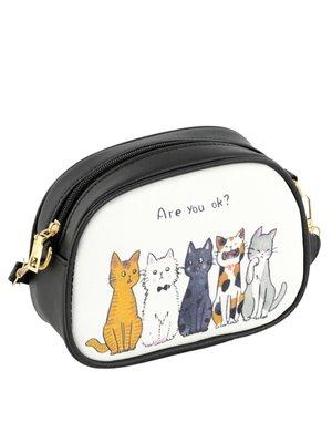 Сумка белая с принтом «5 кошек» | 3683446