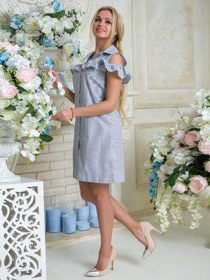 Платье бело-синее в полоску | 3646411