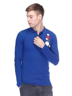Джемпер-поло синій з принтом | 2897036
