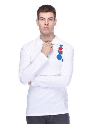 Джемпер-поло білий з принтом | 2480328