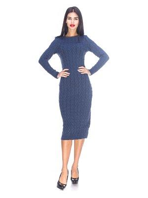 Платье синего цвета вязаное | 3656991