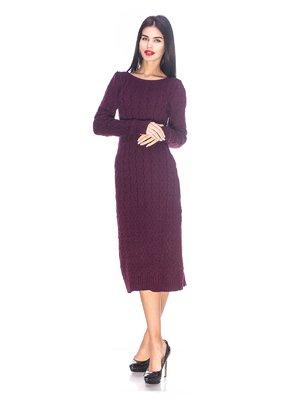Платье цвета марсала вязаное | 3656990