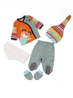 Комплект: сорочечка (2 шт.), повзунки, шапочка і рукавички | 3702111