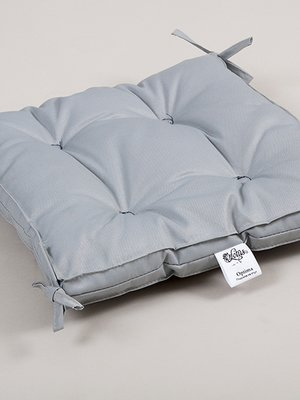 Подушка на стул (40х40х5 см) Optima с завязками серая | 3702294