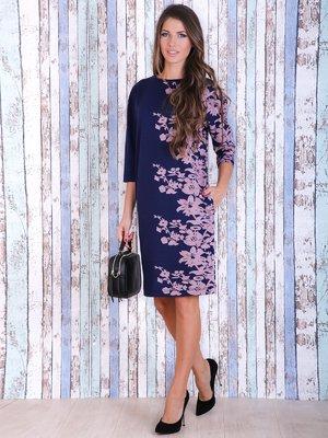 Платье синее с цветочным принтом | 3705646