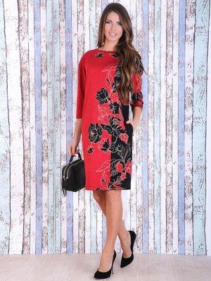 Платье черно-красное с цветочным принтом | 3705648