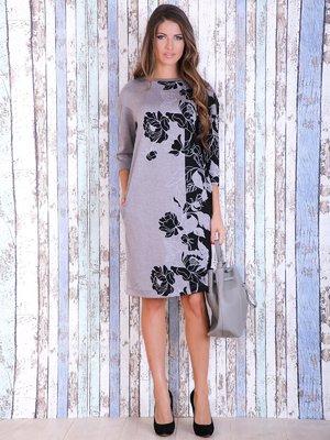 Платье черно-серое с цветочным принтом | 3705649