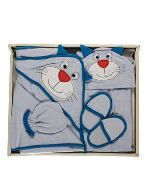 Комплект: халат, рушник, тапочки і рукавичка для купання | 3702175