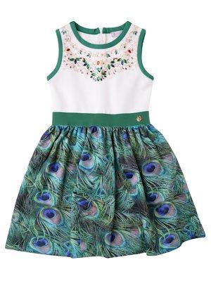 Сукня зелена в принт | 3716932
