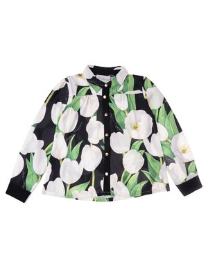 Блуза чорна в квітковий принт | 3716935