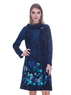 Платье темно-синее с цветочным принтом   3733700