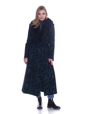 Пальто бирюзовое в узор | 3732071