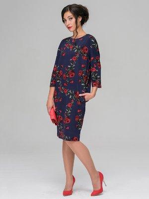 Платье синее в цветочный принт | 3527645