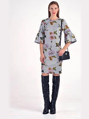 Платье серое с цветочным принтом | 3749254