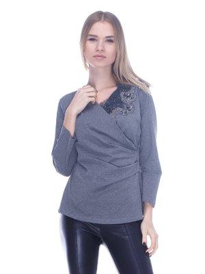 Блуза серая с декором | 3752025