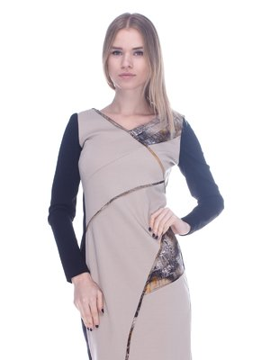 Сукня бежево-чорна в принт | 3752054