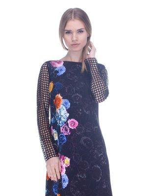 Сукня чорна в квітковий принт | 3752066