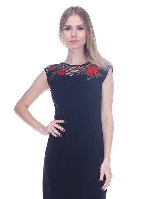Платье черное с аппликацией | 3752060