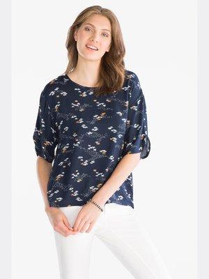 Блуза темно-синяя принтованная | 3758198