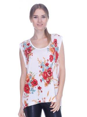 Блуза белая с цветочным принтом | 3762338