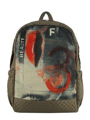 Рюкзак бежевый с принтом | 3712388